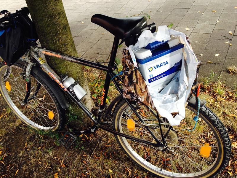 Batterie auf dem Fahrrad
