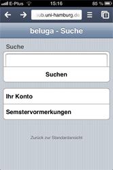 beluga mobil: Startseite schlicht mit Suchschlitz
