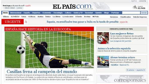 El País zum historischen Sieg der Spanier über Italien