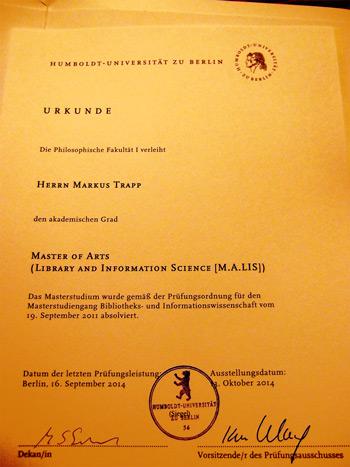 Master-Urkunde