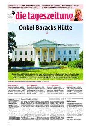 taz-Cover vom 5.6.2008: Onkel Baracks Hütte