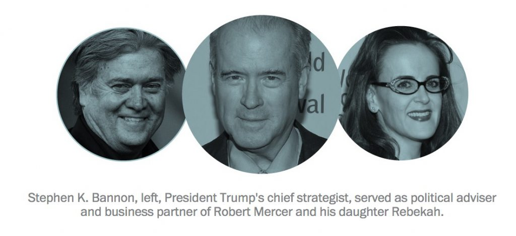 Washington Post: Stephen K. Bannon, left, President Trump's chief strategist, served as political adviser and business partner of Robert Mercer and his daughter Rebekah
